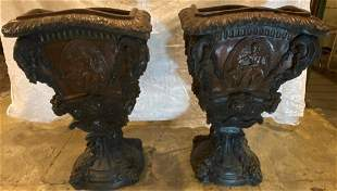 Pair Rare XL Bronze Mid Century Modern Planters