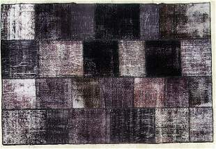 Hand Made Shaved and Wool Rug - Black
