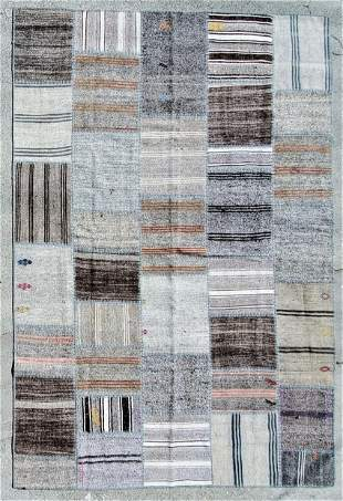 Hand Made Shaved and Wool Rug - Brown