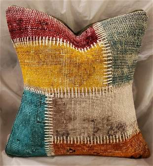 Turkish Mid Century Hand Made Multi Colo Pillow