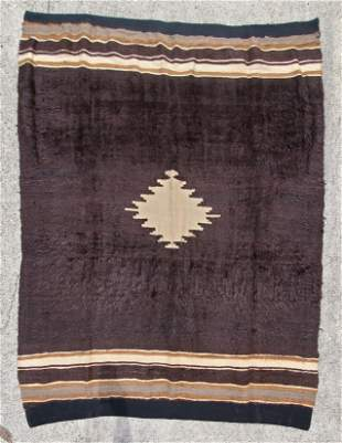 Turkish Mohair Brown Striped Rug 52in x 68in