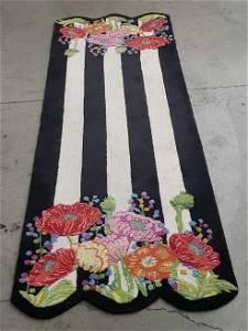 Mackenzie- Childs Striped Floral Runner 108 x 36.5