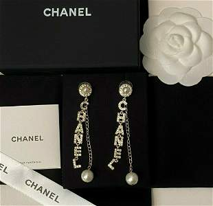 Pair of Chanel Alphabet Long Stone Earrings
