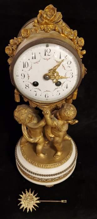 French antique Bronze Mantle Clock