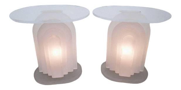 Pedro Walther Prosper Art Deco Lucite Light up Tables