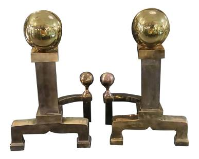 1970s Brass Cannonball Fireplace Andirons - a Pair