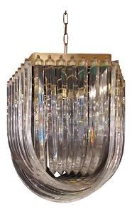1970s Art Deco Italian Lucite Looped Chandelier