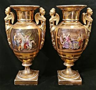 Pair of Large Antique KPM Gilt Vases