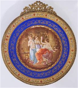 Antique Czech Gilt Framed Hand Painted Mirror