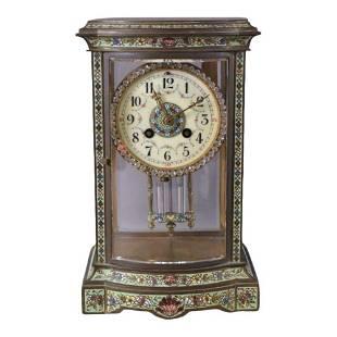 19thc French Bronze Antique L-Marti Champleve Clock