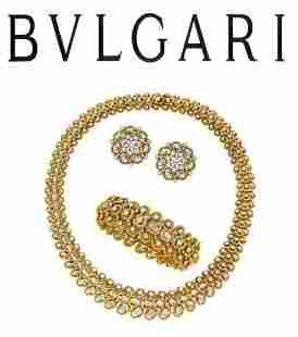 Bulgari Diamond, Gold 1960s Jewelry Suite by Bvlgari