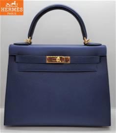 Brand New Hermes Kelly28  Royal Blue Leather 2021