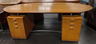 Birch Double-Pedestal Desk W/Aluminum Hardware