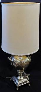 Antique silver plated samovar table lamp