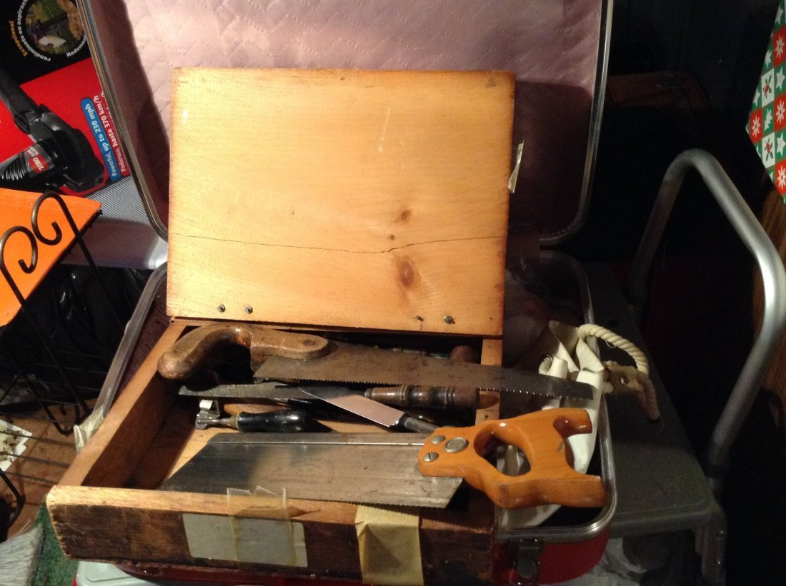 Tools; Vintage luggage; Metal chair and more