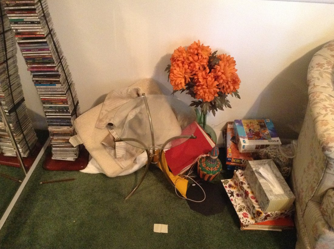 Contents of corner of living room