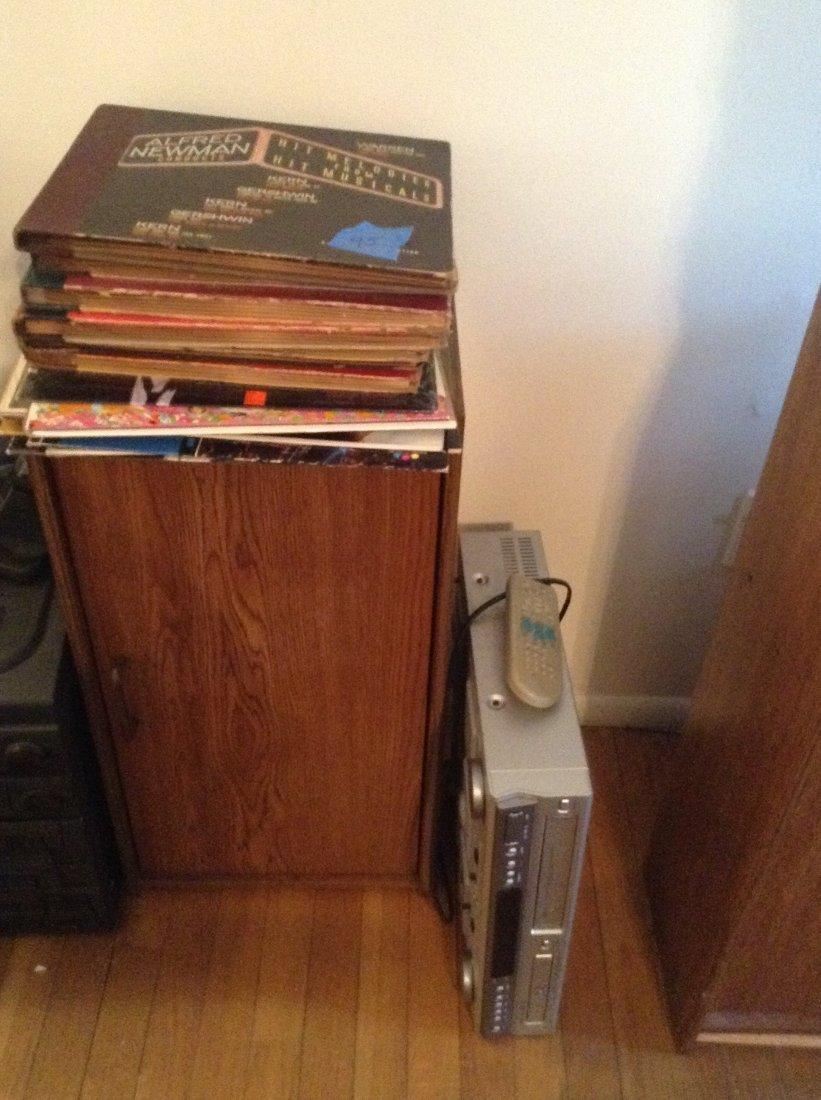 records, VCR tape & cabinet & VCR