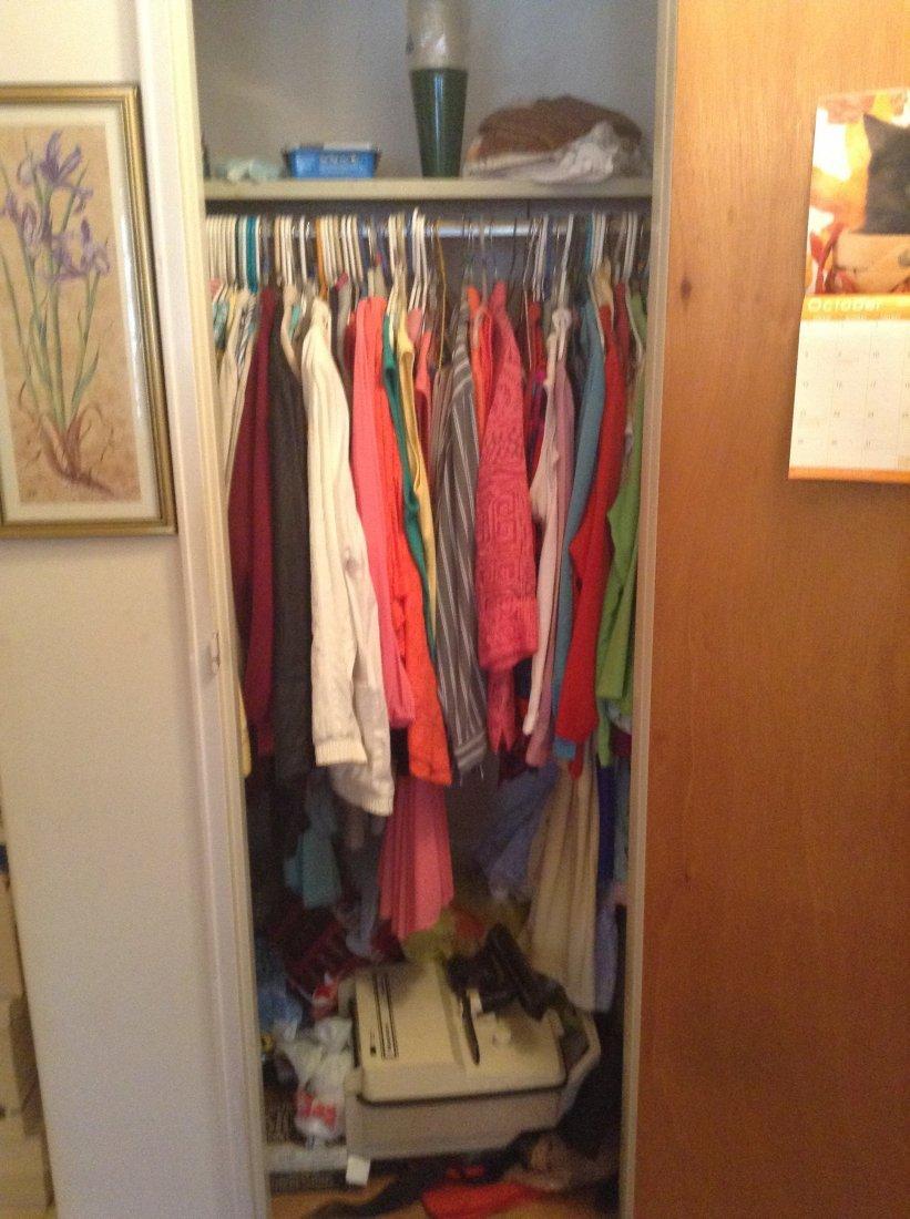 Contents of front hallway closet