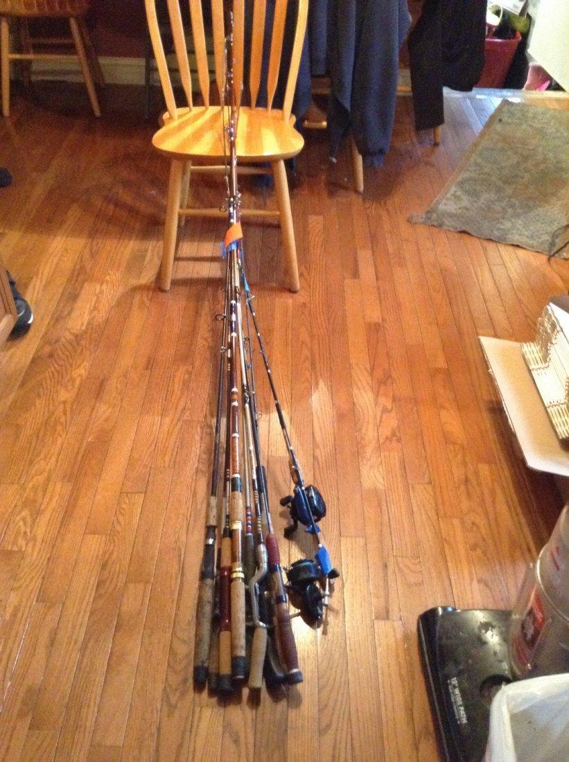 A lot of 10 fishing poles