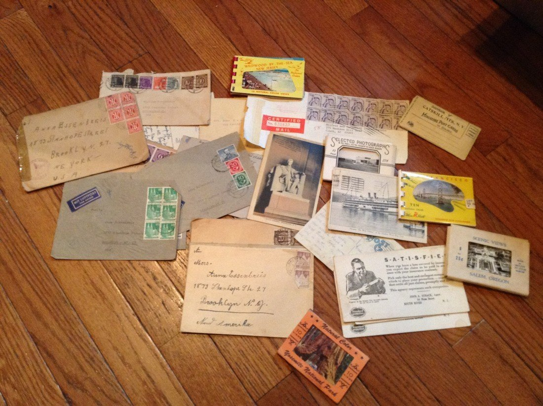 large amount of post cards, photos and stamps