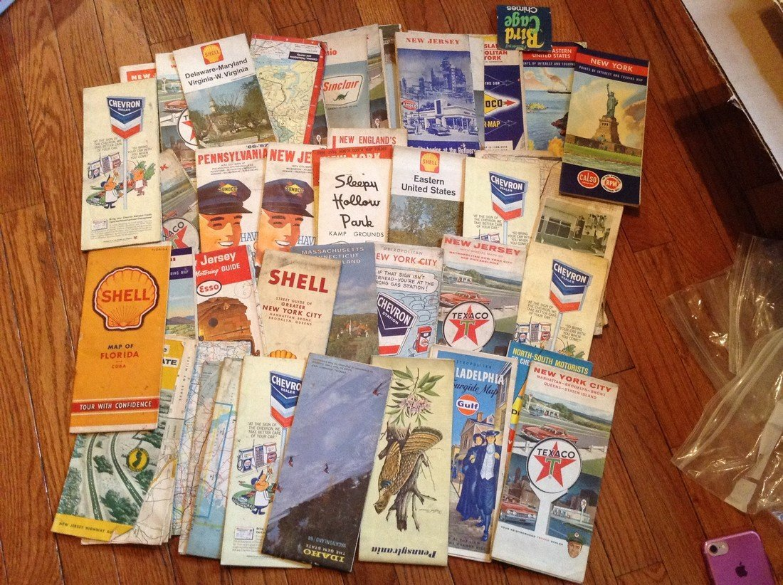 large amount of vintage road maps; Gasoline Advertising