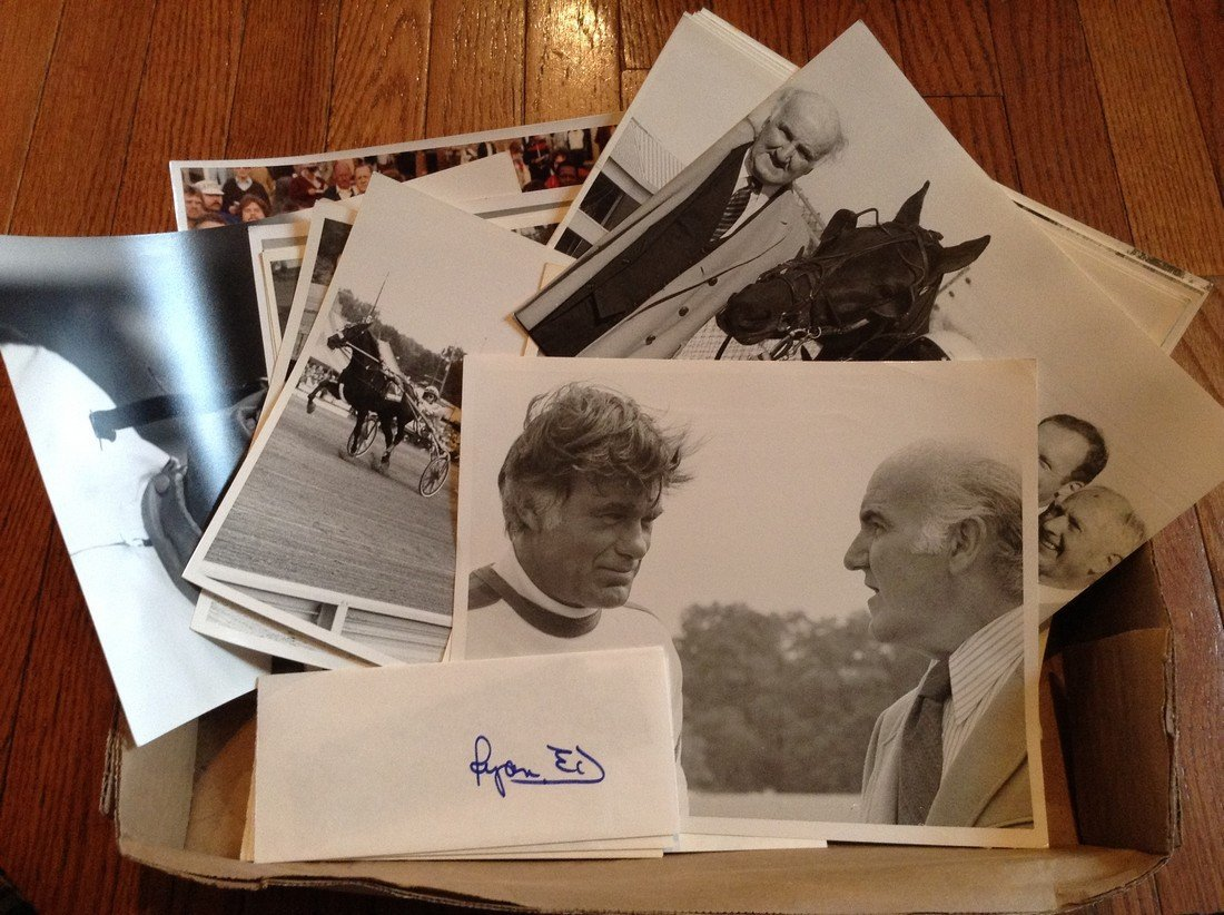large amount of black & white horse racing photos and
