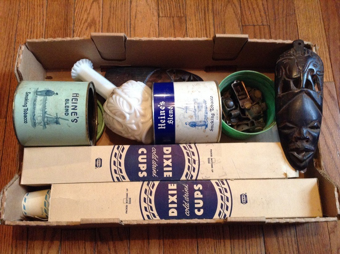 Vintage tobacco tins; Dixie cups and copper latches