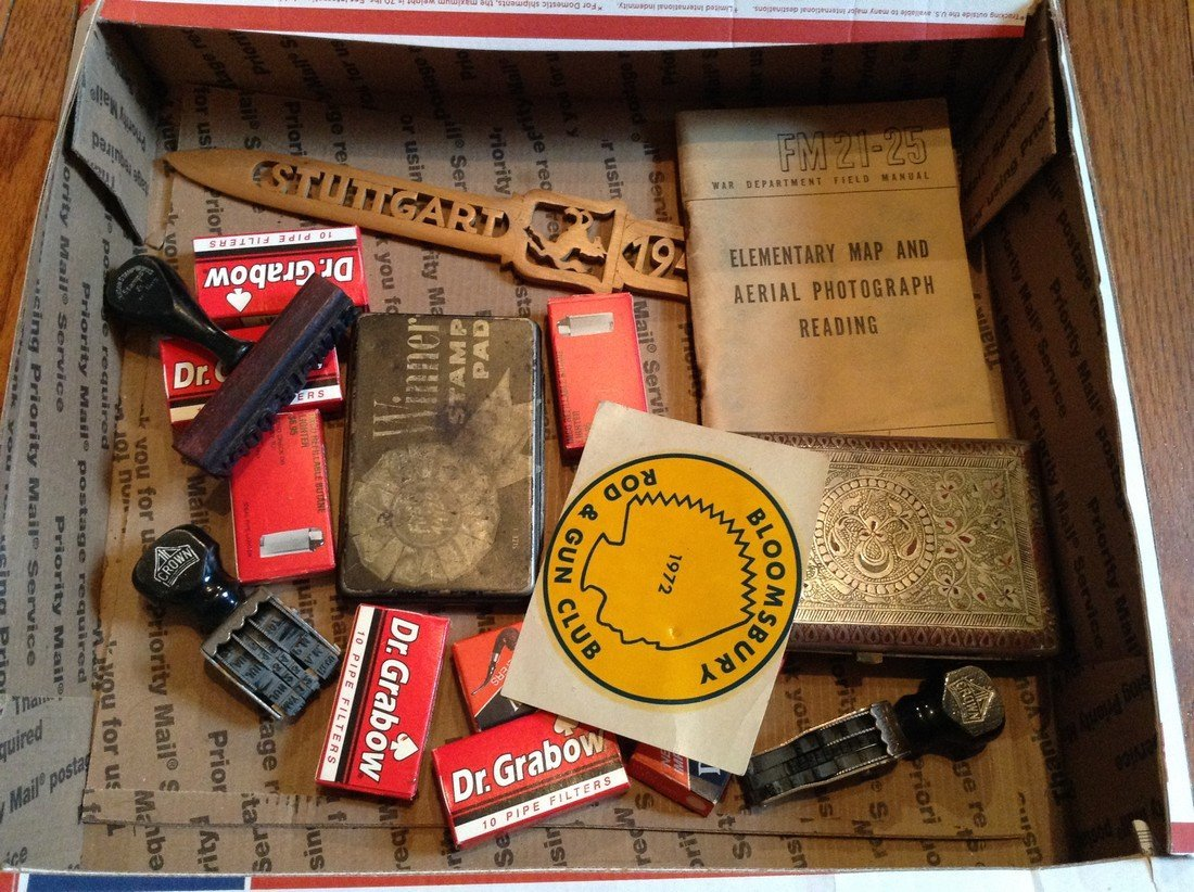 Vintage stampers; cigar items and military
