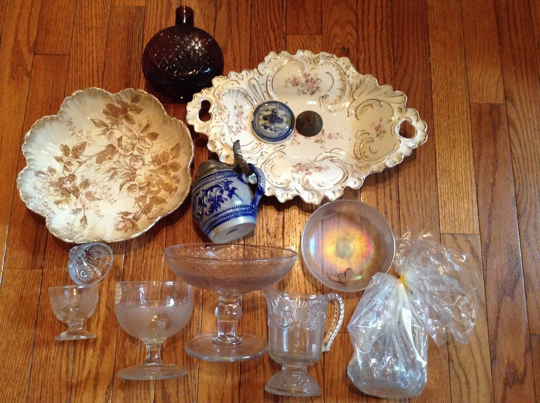 lot of 1800s and later glass and ceramic ware