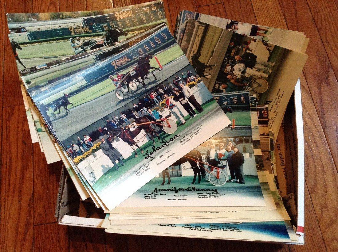 large amount of winner circle horse racing photos
