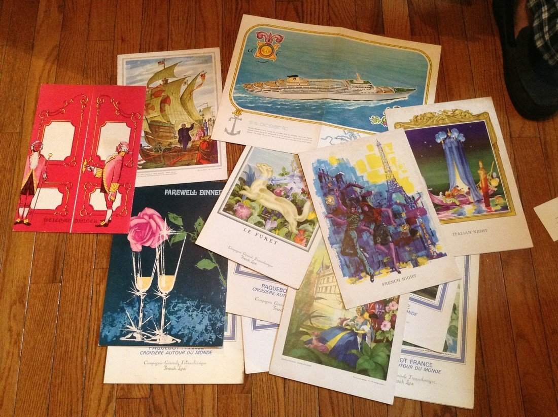 Early Ocean liner Menu and covers various Cruise lines