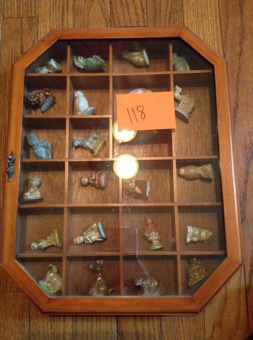 Wade animal figures and others with display case