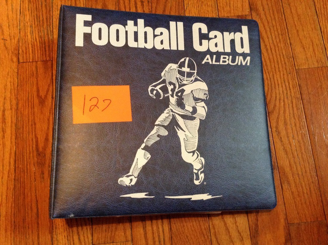 vintage football cards in binder