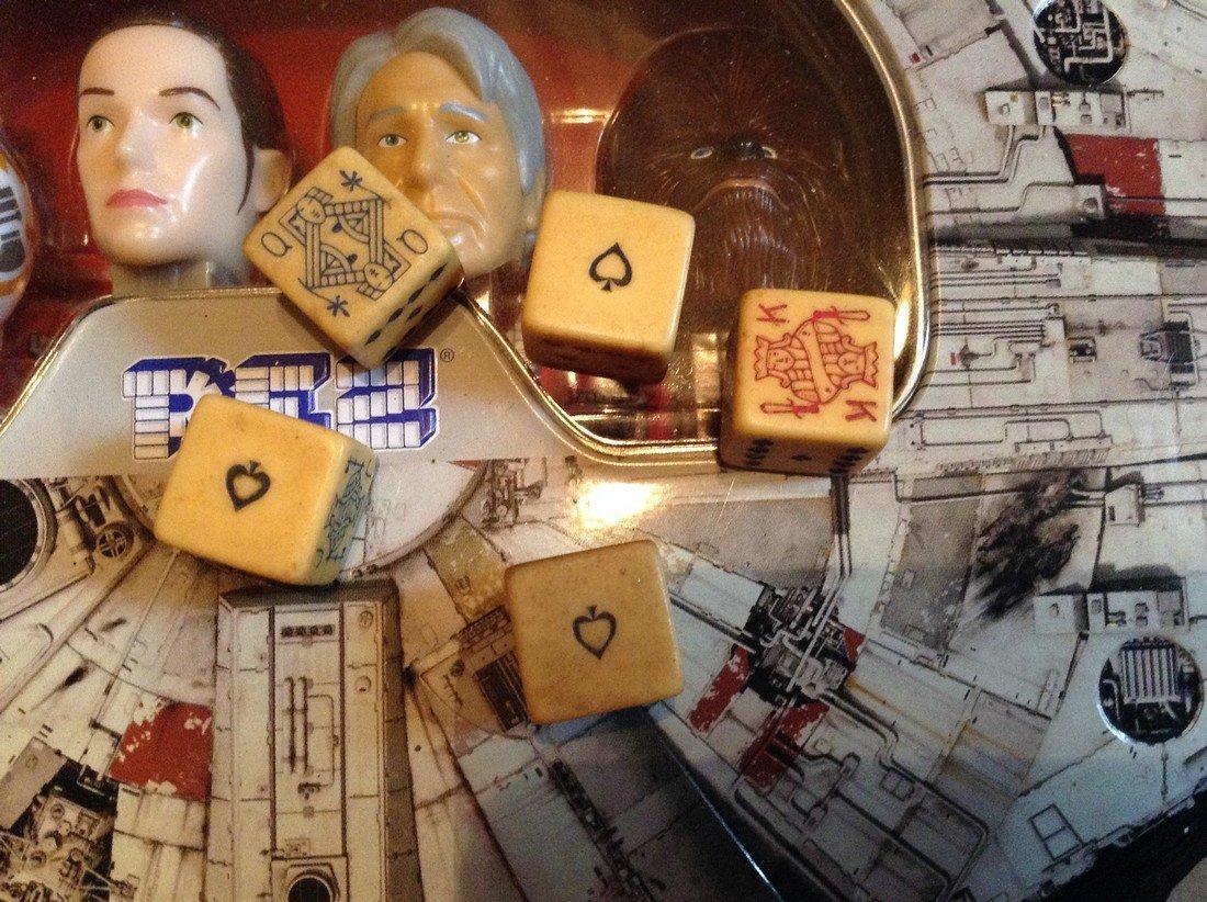 vintage bone dice & Star Wars Pez dispenser - 2