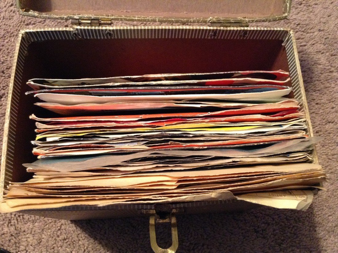 Vintage 45s in carrying case