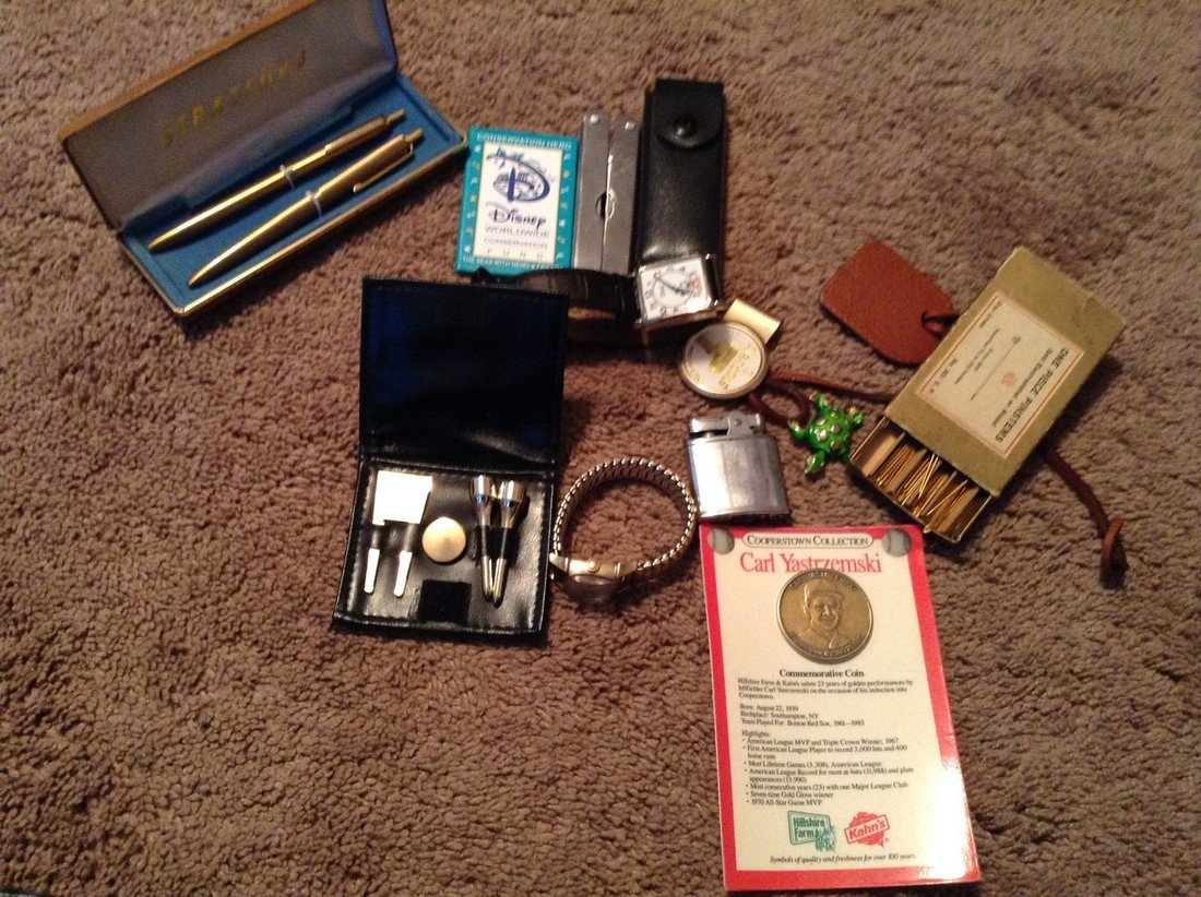 Vintage lighter, watches, Disney and pens