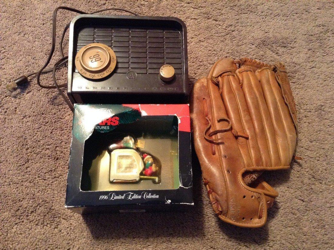 Vintage baseball glove, bakalite radio and ornaments