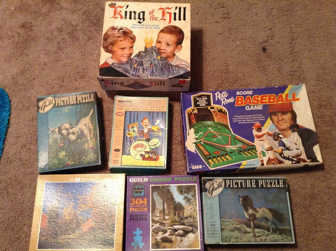 Vintage puzzles and baseball games