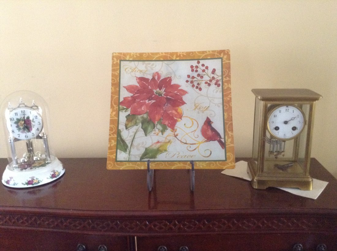 Lot of 2 table top clocks & Square Painted plate