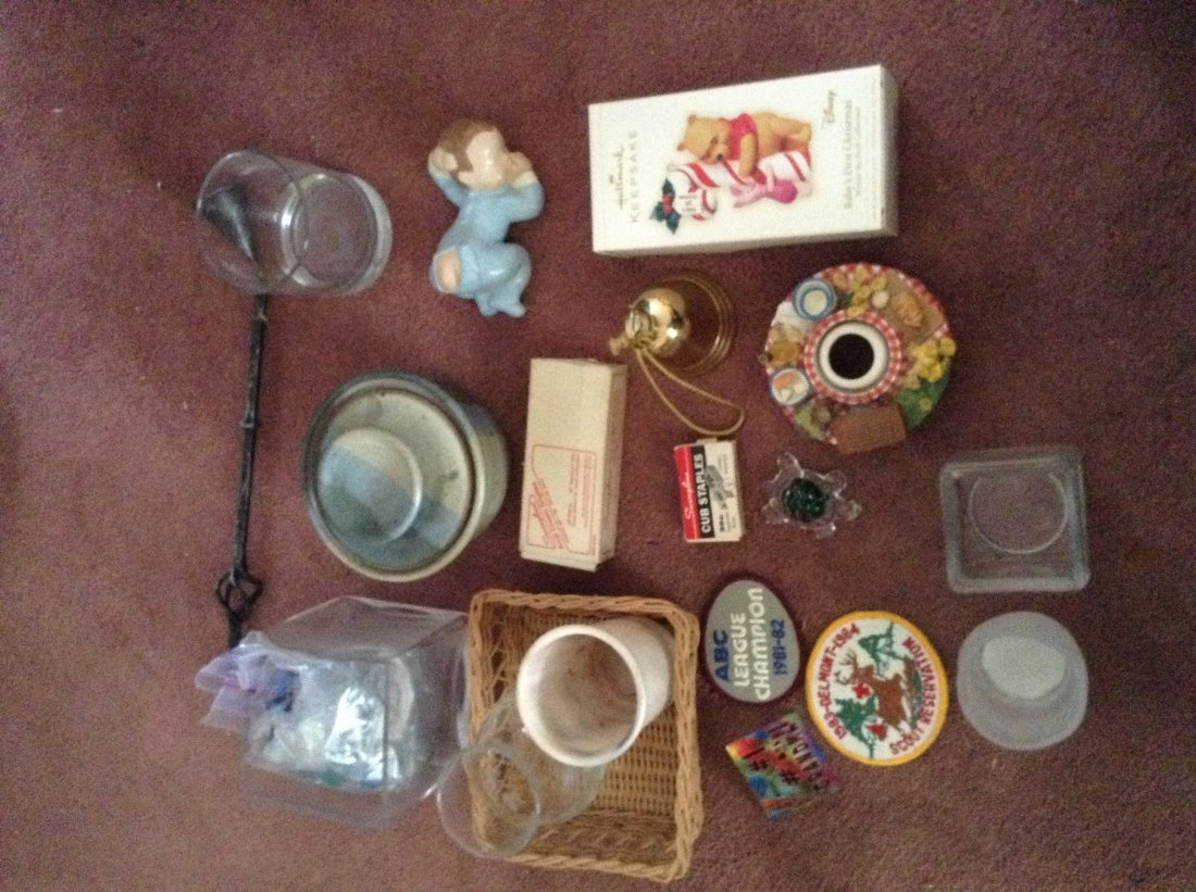 Marbles; misc Glassware; Bells and more