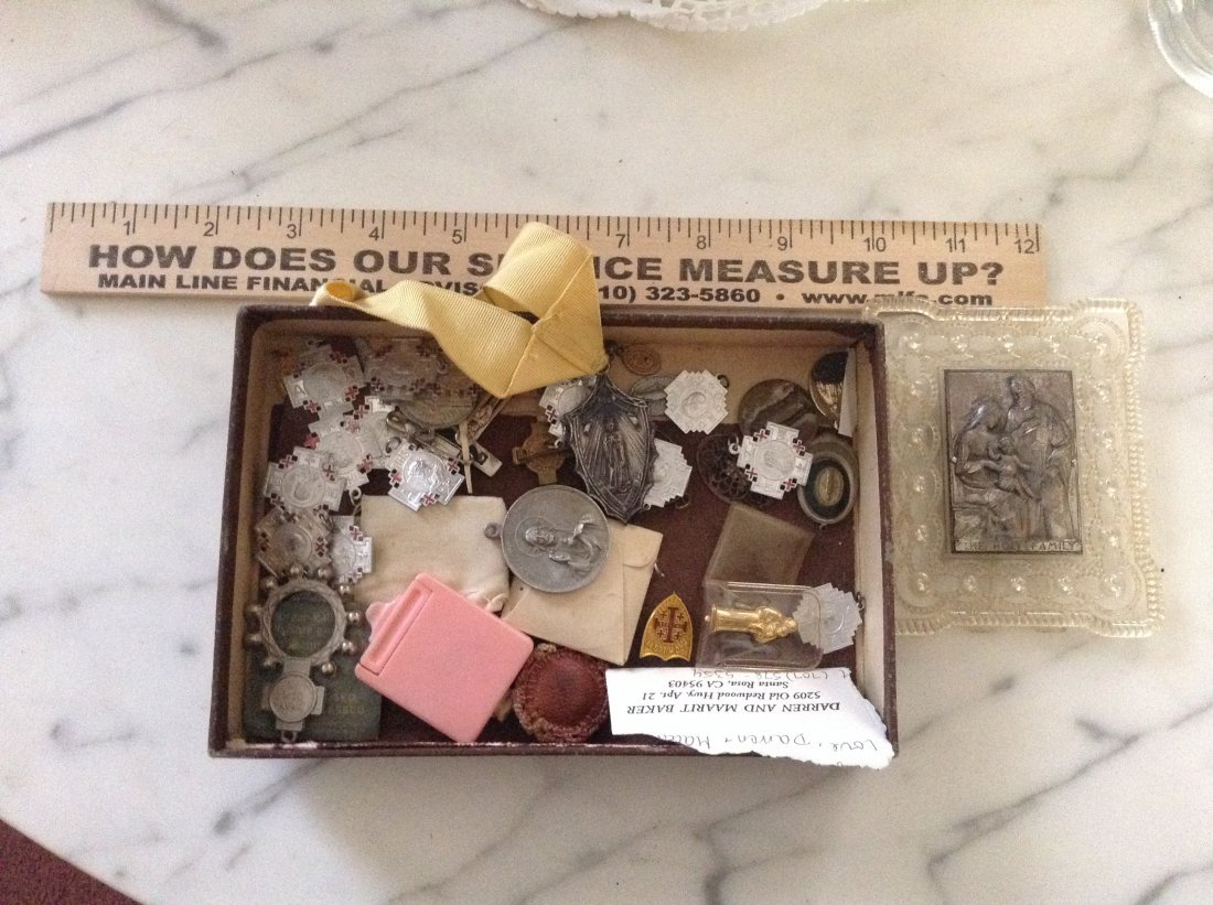 Vintage Religious medals and ruler