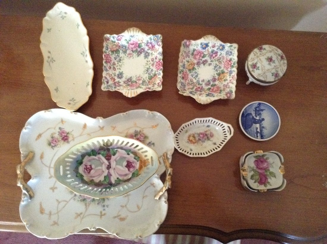9 piece Lot Hand painted plates and bowls:
