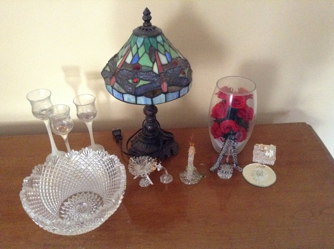 Tiffany style lamp and crystals