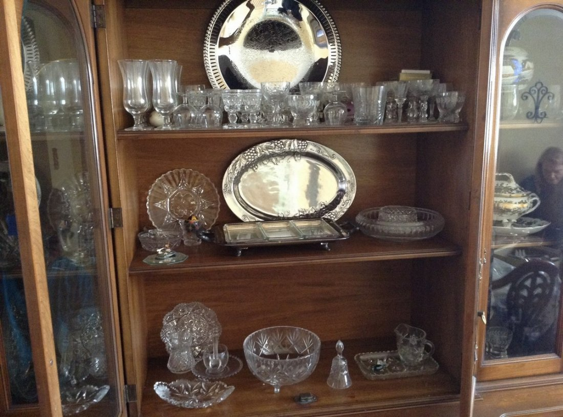 3 shelves including Crystal stemwares; serving platters