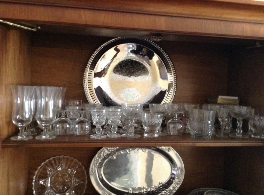 3 shelves including Crystal stemwares; serving platters - 2