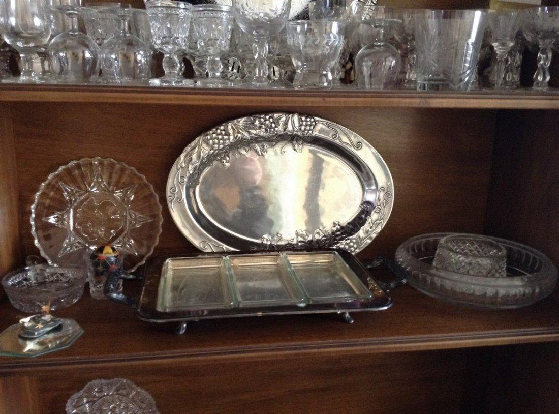 3 shelves including Crystal stemwares; serving platters - 3