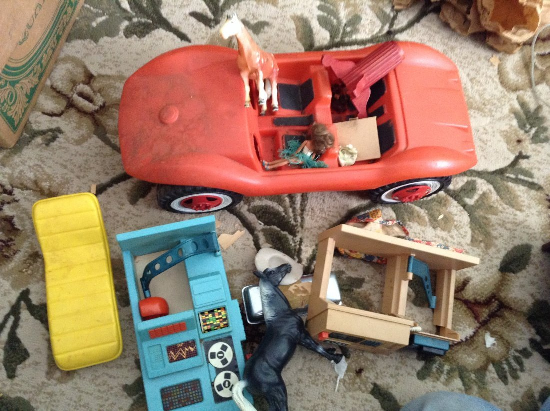 Vintage Barbie car and other vintage toys