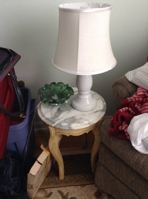 Marble Top side table; lamp and vintage glassware