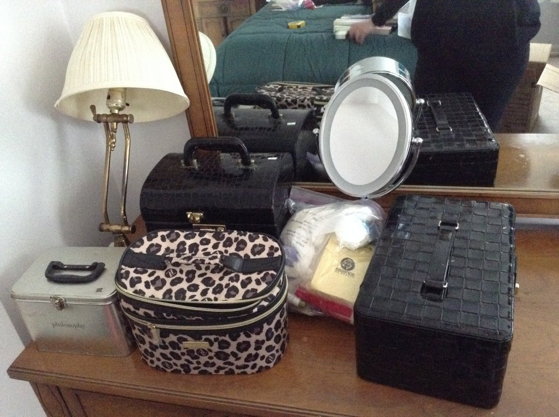 Lamp, Mirror and make-up cases