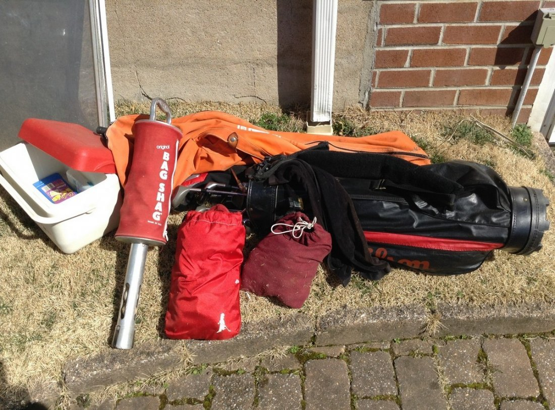 Lot of Golf clubs; Golf bags and cooler
